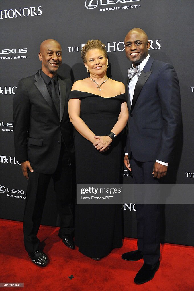 President of Music, Programming, and Specials of BET Networks Stephen G. Hill, Chariman and Chief Executive Officer of BET Networks, <a gi-track='captionPersonalityLinkClicked' href=/galleries/search?phrase=Debra+L.+Lee&family=editorial&specificpeople=555541 ng-click='$event.stopPropagation()'>Debra L. Lee</a>, and <a gi-track='captionPersonalityLinkClicked' href=/galleries/search?phrase=Wayne+Brady+-+Actor&family=editorial&specificpeople=217495 ng-click='$event.stopPropagation()'>Wayne Brady</a> attend BET Honors 2014 at Warner Theatre on February 8, 2014 in Washington, DC.