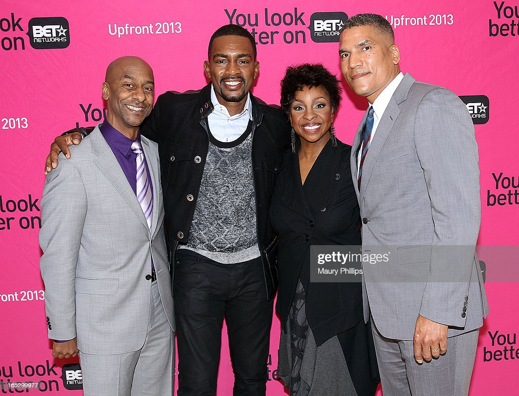President of Music Programming BET Networks Stephen Hill, comedian Bill Bellamy, Gladys Knight and General Manager BET Centric Paxton Baker attend BET Networks 2013 Los Angeles Upfront at Montage Beverly Hills on April 2, 2013 in Beverly Hills, California.
