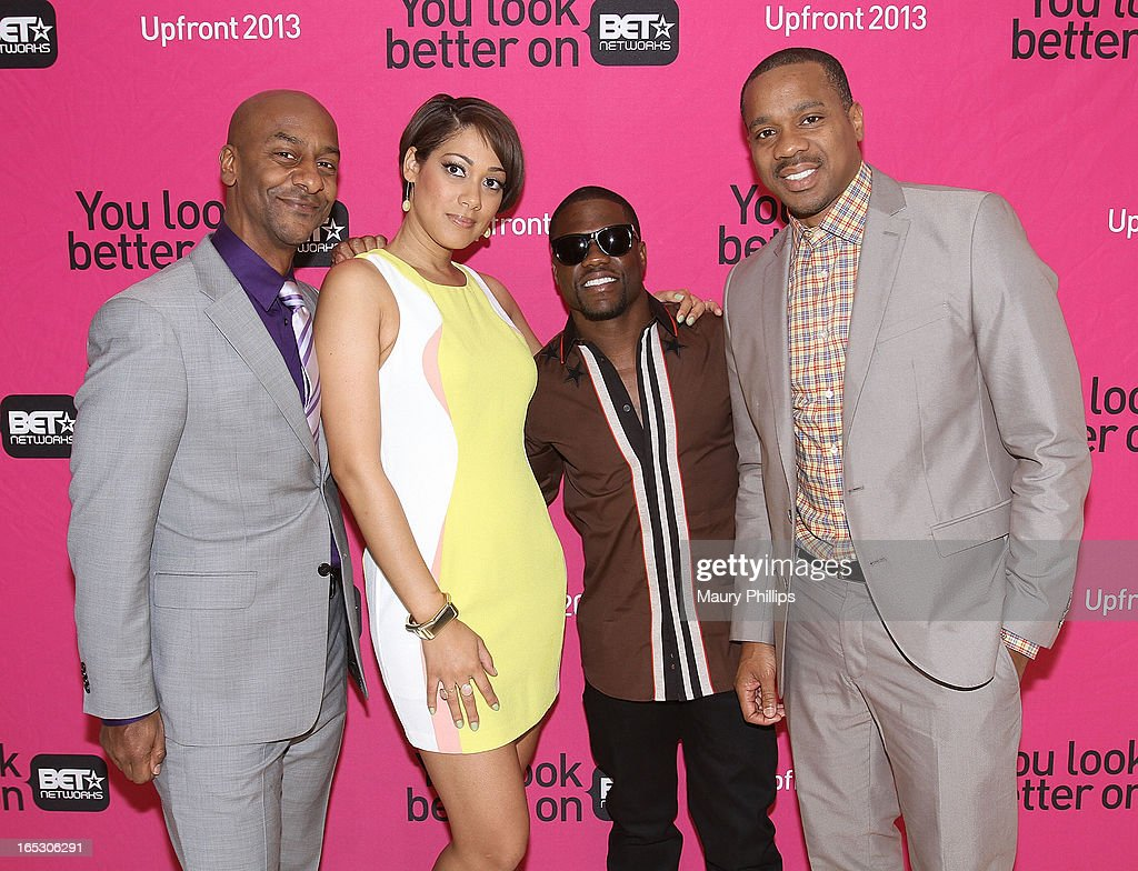 President of music programming BET Networks Stephen Hill, Cynthia Kaye McWilliams, Kevin Hart and Duane Martin attend BET Networks 2013 Los Angeles Upfront at Montage Beverly Hills on April 2, 2013 in Beverly Hills, California.