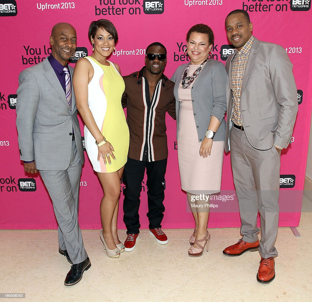 President of music programming BET Networks Stephen Hill, Cynthia Kaye McWilliams, Kevin Hart, chairman/CEO of BET Networks Debra Lee and Duane Martin attend BET Networks 2013 Los Angeles Upfront at Montage Beverly Hills on April 2, 2013 in Beverly Hills, California.