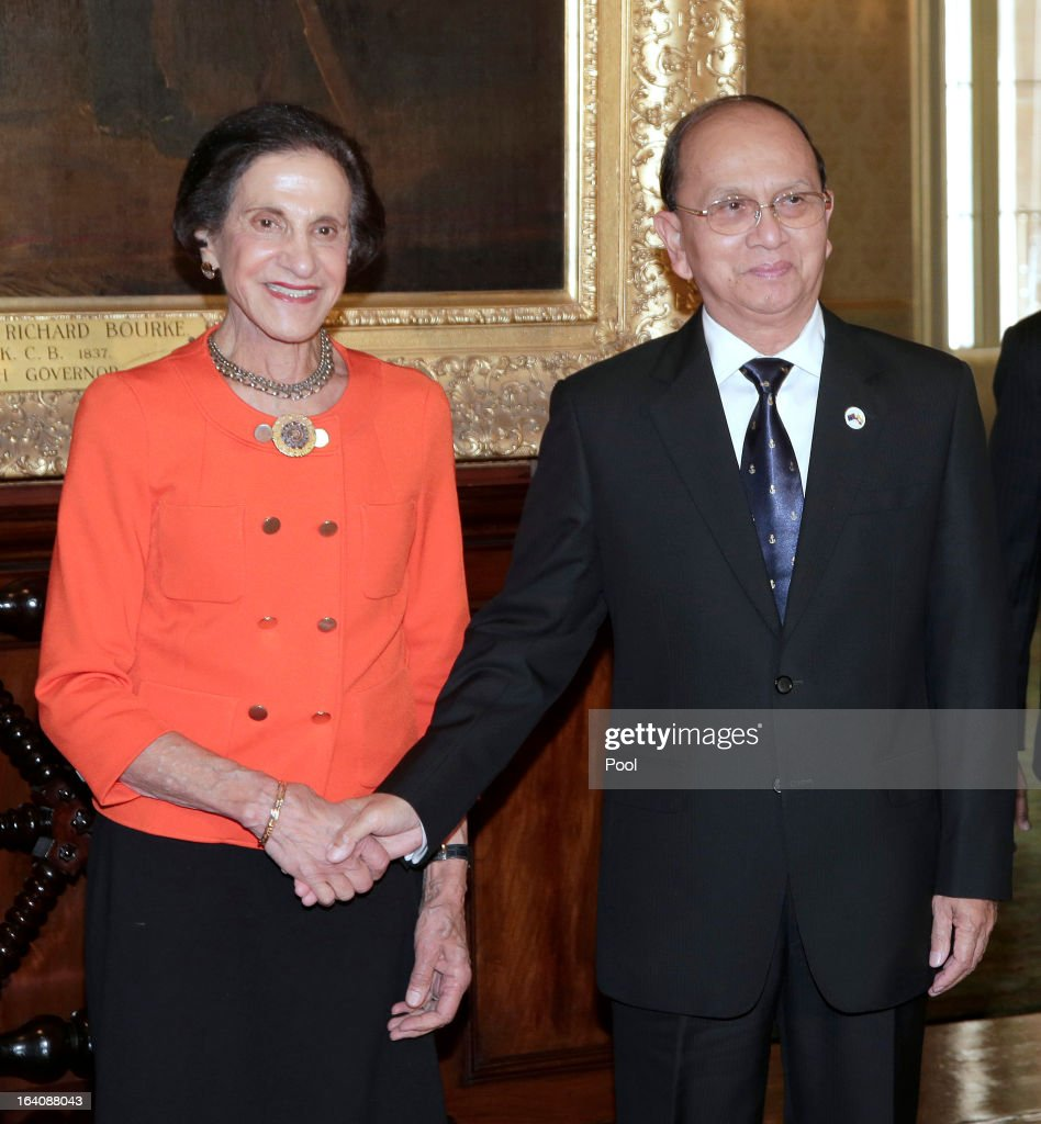 President of Myanmar, <a gi-track='captionPersonalityLinkClicked' href=/galleries/search?phrase=Thein+Sein&family=editorial&specificpeople=787536 ng-click='$event.stopPropagation()'>Thein Sein</a> (R) and <a gi-track='captionPersonalityLinkClicked' href=/galleries/search?phrase=Marie+Bashir&family=editorial&specificpeople=226887 ng-click='$event.stopPropagation()'>Marie Bashir</a>, Governor of New South Wales shake hands at Government House on March 19, 2013, in Sydney, Australia, President <a gi-track='captionPersonalityLinkClicked' href=/galleries/search?phrase=Thein+Sein&family=editorial&specificpeople=787536 ng-click='$event.stopPropagation()'>Thein Sein</a> is on the final day of his 3-day visit to Australia.
