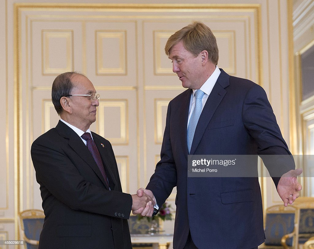President of Myanmar Thein Sein (L) is received by King Willem-Alexander of The Netherlands at the Noordeinde Palace on September 9, 2014 in The Hague, The Netherlands. Thein Sein is here on a two-day visit to strengthen ties between the two countries