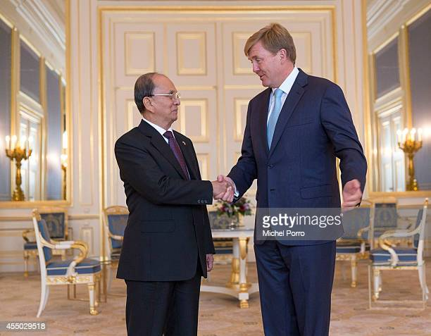 President of Myanmar Thein Sein is received by King WillemAlexander of The Netherlands at the Noordeinde Palace on September 9 2014 in The Hague The...