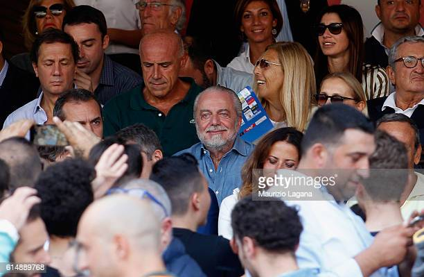 President of Napoli Aurelio De Laurentis during the Serie A match between SSC Napoli and AS Roma at Stadio San Paolo on October 15 2016 in Naples...