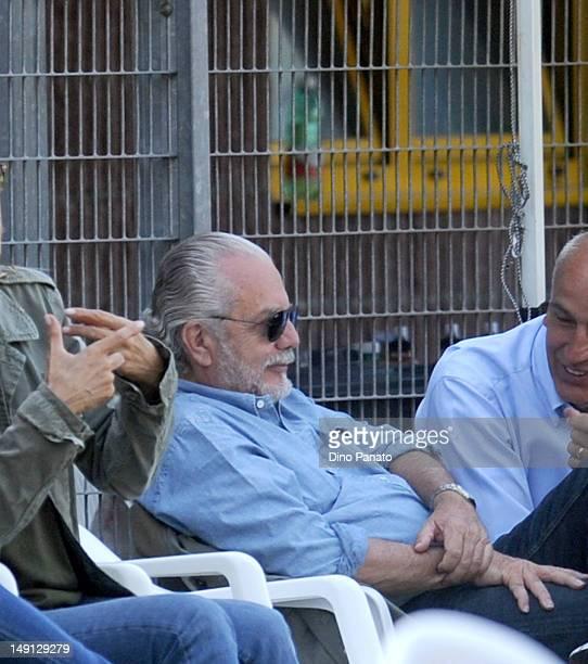 President of Napoli Aurelio De Laurentis looks on during the preseason friendly match between SSC Napoli and US Grosseto on July 23 2012 in Dimaro...