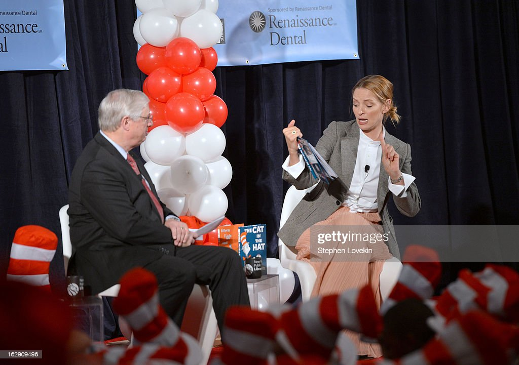 President of National Education Association Dennis Van Roekel and actress <a gi-track='captionPersonalityLinkClicked' href=/galleries/search?phrase=Uma+Thurman&family=editorial&specificpeople=171973 ng-click='$event.stopPropagation()'>Uma Thurman</a> read onstage at NEA's Read Across America Day at New York Public Library on March 1, 2013 in New York City.