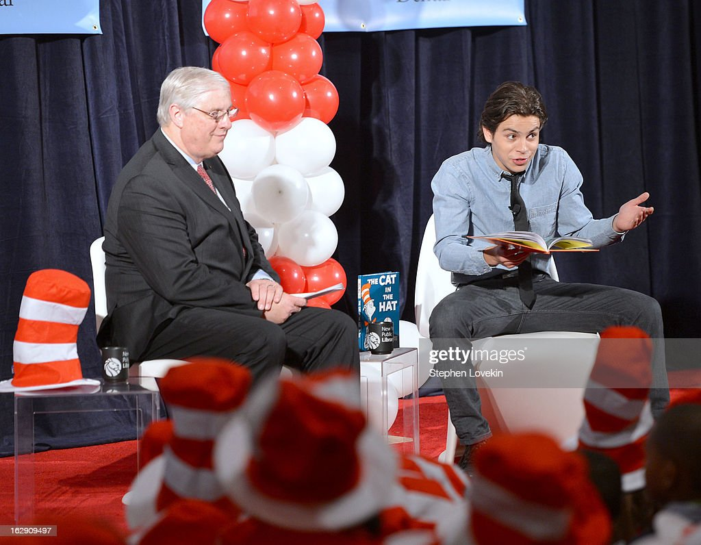 President of National Education Association Dennis Van Roekel and actor Jake T. Austin read onstage at NEA's Read Across America Day at New York Public Library on March 1, 2013 in New York City.