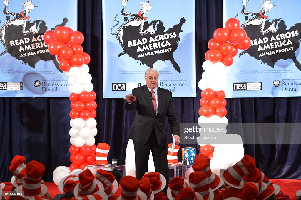 President of National Education Association Dennis Van Roekel Joins Cat In The Hat On NEA's Read Across America Day at New York Public Library on March 1, 2013 in New York City.