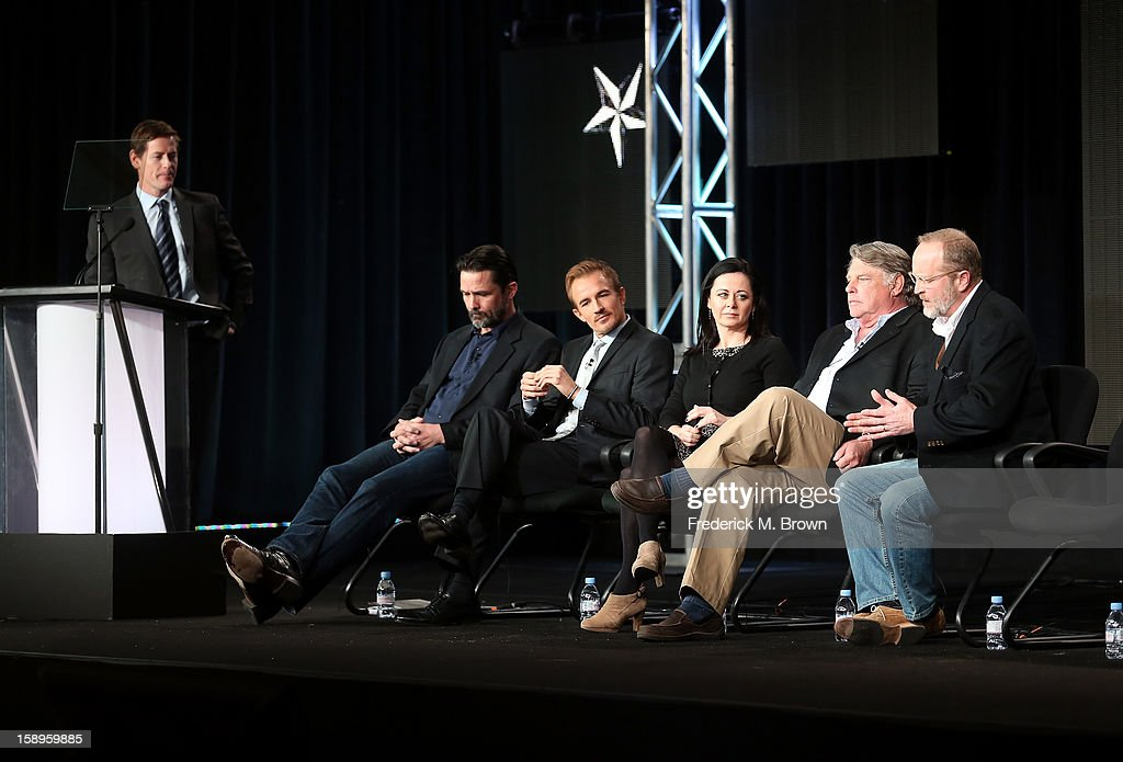 President of National Geographic Channels Howard T. Owens, actors Billy Campbell, Jesse Johnson, Geraldine Hughes, Graham Beckel, and Writer/Producer Erik Jendresen speak onstage during the 'Killing Lincoln' panel discussion at the National Geographic Channels portion of the 2013 Winter TCA Tour - Day 1 at Langham Hotel on January 4, 2013 in Pasadena, California.
