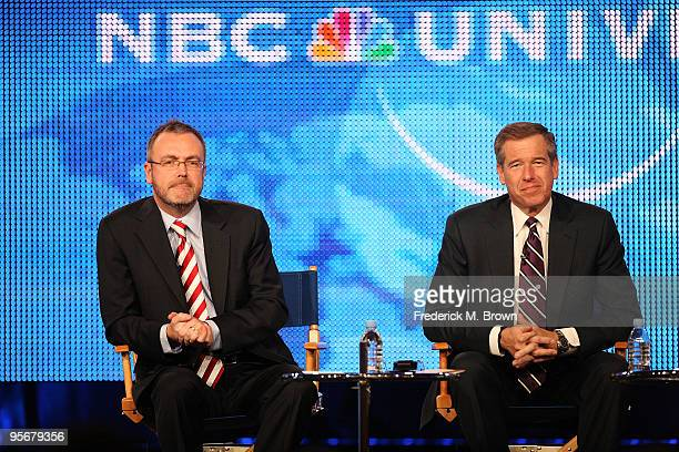 President of NBC News Steve Capus and NBC Nightly News anchor Brian Williams speak onstage at the NBC Universal 'NBC News' QA portion of the 2010...
