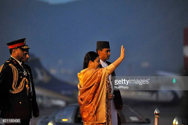 President of Nepal Bidhya Devi Bhandari wave her hands to give farewell to Indian President Pranab Mukherjee after 3day state visit to Nepal at...