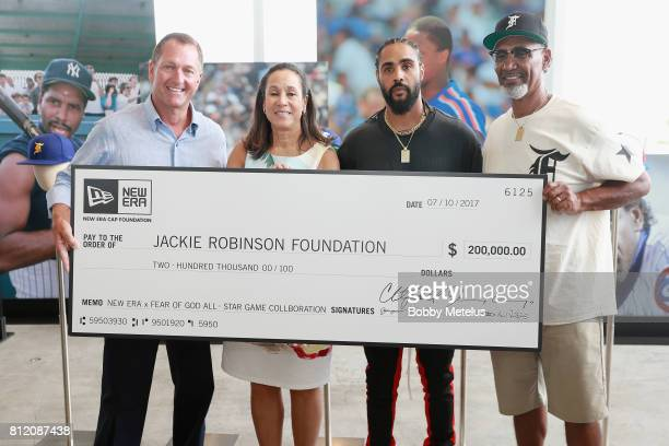 CEO President of New Era Cap Chris Koch President of The Jackie Robinson Foundation Della Britton Jerry Lorenzo and Jerry Manuel attend the New Era...