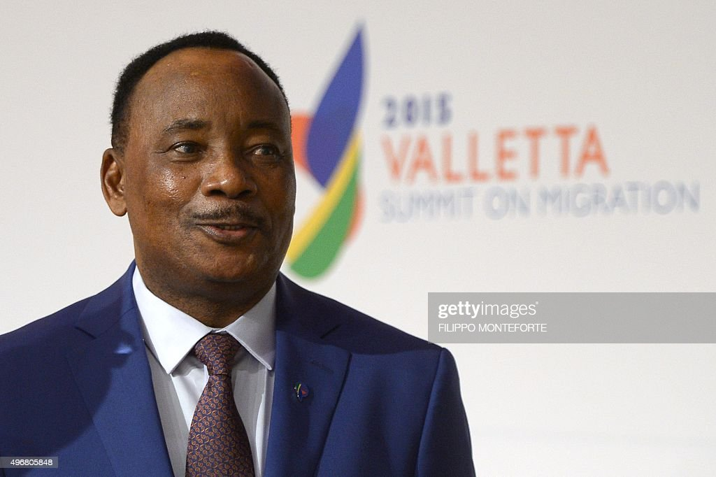 President of Niger <a gi-track='captionPersonalityLinkClicked' href=/galleries/search?phrase=Mahamadou+Issoufou&family=editorial&specificpeople=2329822 ng-click='$event.stopPropagation()'>Mahamadou Issoufou</a> arrives for the second working session of the European Union - Africa Summit on Migration at the Meditterranean Conference Center, on November 12, 2015 in La Valletta. EU leaders attending a summit with their African counterparts today approved a 1.8-billion-euro trust fund for Africa aimed at tackling the root causes of mass migration to Europe.