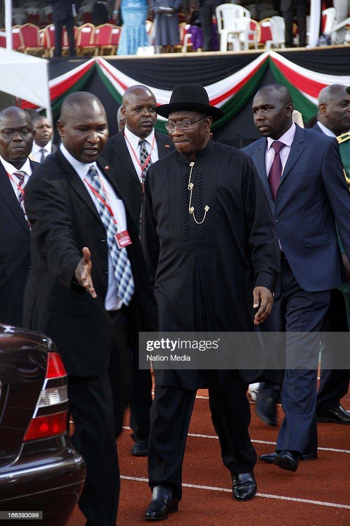 President of Nigeria, Goodluck Jonathan, leaves the Inauguration ceremony of President Uhuru Kenyatta on April 9, 2013 in Nairobi, Kenya. Kenyatta received masses of support from the citizens of Kenya despite being under investigation for crimes against humanity.