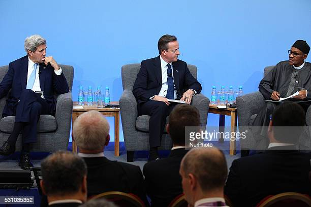 President of Nigeria Mohammadu Buhari with England Prime Minister David Cameron and US Secretary of States John Kerry at the Opening Plenary of the...