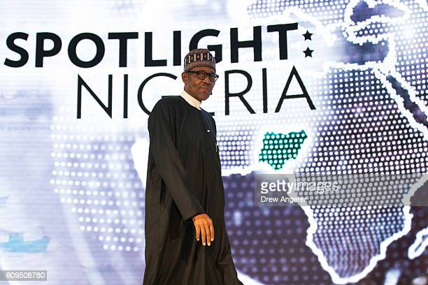 President of Nigeria Muhammadu Buhari arrives to speak at the USAfrica Business Forum at the Plaza Hotel September 21 2016 in New York City The forum...
