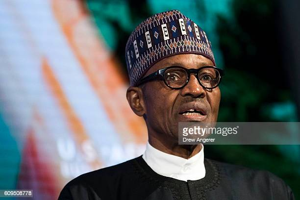 President of Nigeria Muhammadu Buhari speaks at the USAfrica Business Forum at the Plaza Hotel September 21 2016 in New York City The forum is...
