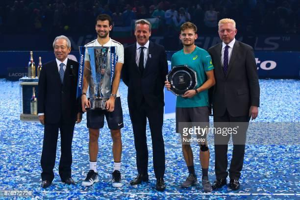 President of Nitto Hideo Takasaki Winner Grigor Dimitrov of Bulgaria ATP president Chris Kermode runner up David Goffin of Belgium and Boris Becker...