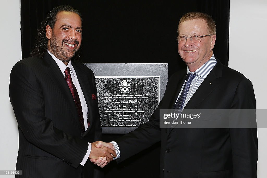 President of Olympic Council of Asia, Sheikh Ahmed Al-Fahad Al-Ahmed Al-Sabah and President of the Australian Olympic Committee, <a gi-track='captionPersonalityLinkClicked' href=/galleries/search?phrase=John+Coates&family=editorial&specificpeople=233445 ng-click='$event.stopPropagation()'>John Coates</a> shake hands during the unveiling of the new Australian Olympic Committee Offices at the Museum of Contemporary Art on March 6, 2013 in Sydney, Australia.