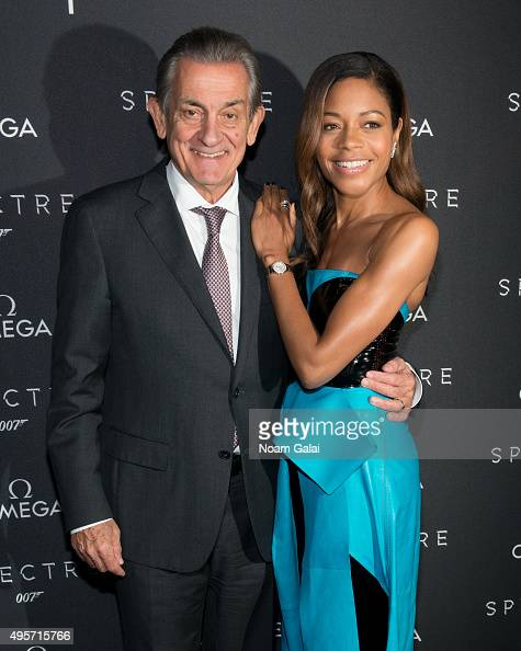 President of OMEGA Stephen Urquhart and actress Naomie Harris attend the New York OMEGA 'Spectre' screening on November 4 2015 in New York City
