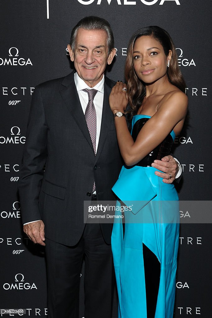 President of OMEGA Stephen Urquhart and Actress Naomie Harris attend the Omega 'Spectre' screening on November 4 2015 in New York City