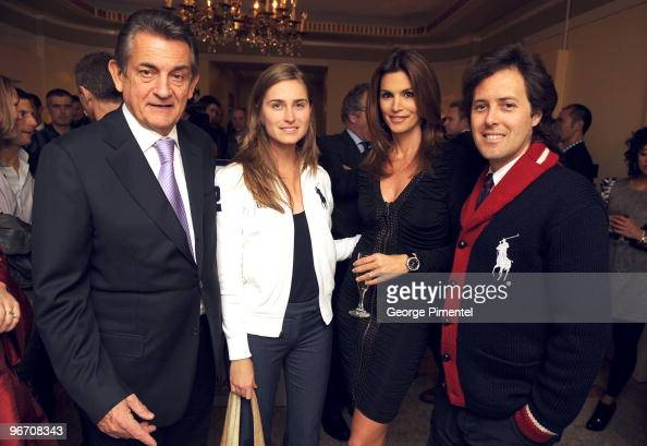 President of OMEGA Stephen Urquhart Lauren Bush OMEGA Brand Ambassador Cindy Crawford and David Lauren attend the OMEGA Cocktail Celebration at the...