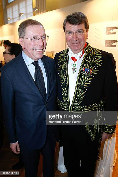 President of Opera de Paris Bernard Stirn and Xavier Darcos attend Xavier Darcos becomes a Member of the Academie Francaise Official Ceremony at...