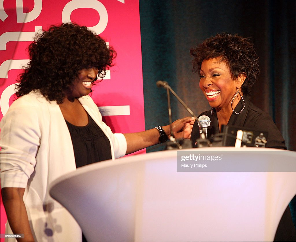 President of original programming BET Networks Loretha Jones (L) and Gladys Knight onstage during BET Networks 2013 Los Angeles Upfront at Montage Beverly Hills on April 2, 2013 in Beverly Hills, California.