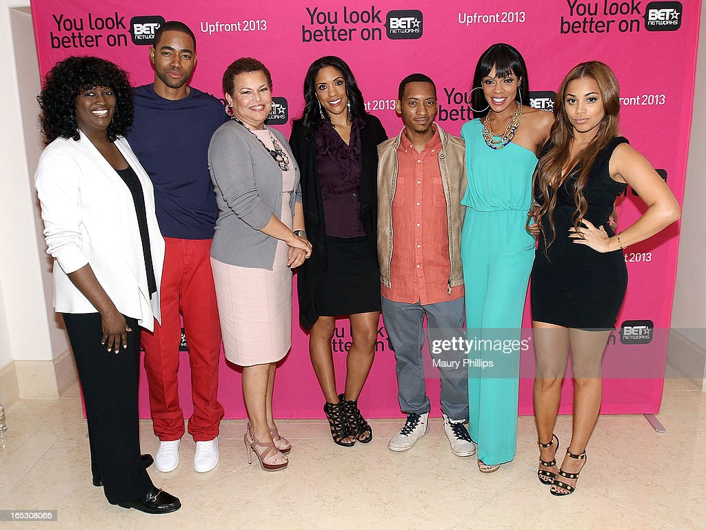 President of original programming BET Networks Loretha Jones, Jay Ellis, chairman/CEO of BET Networks Debra Lee, Kim Lewis, Barry Floyd, Wendy Raquel Robinson and Lauren London attend BET Networks 2013 Los Angeles Upfront at Montage Beverly Hills on April 2, 2013 in Beverly Hills, California.