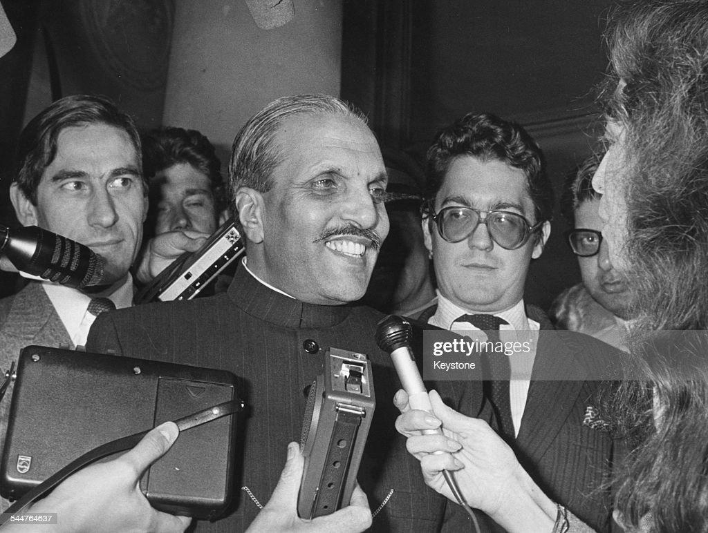 President of Pakistan, Muhammad Zia-ul-Haq, talking to the press at the Elysee, Paris, circa 1980.