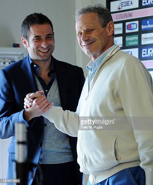 President of Palermo Maurizio Zamparini holds hand to Luca Cattani during the presentation of Christian Panucci as a technical director for US Citta...