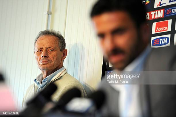 President of Palermo Maurizio Zamparini looks on as Christian Panucci answers questions during his presentation as a technical director for US Citta...