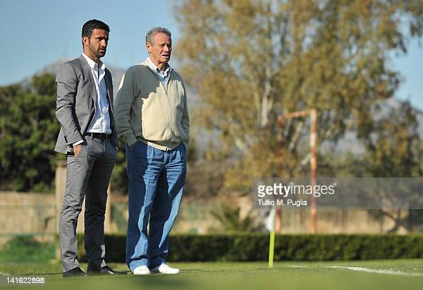 President of Palermo Maurizio Zamparini speaks with Christian Panucci after his presentation as a technical director for US Citta di Palermo at...