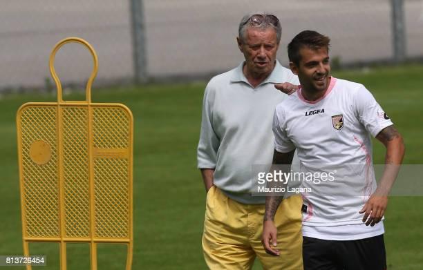 President of Palermo Maurizio Zamparini with Thiago Cionek during preseason training camp on July 13 2017 in Bad Kleinkirchheim Austria