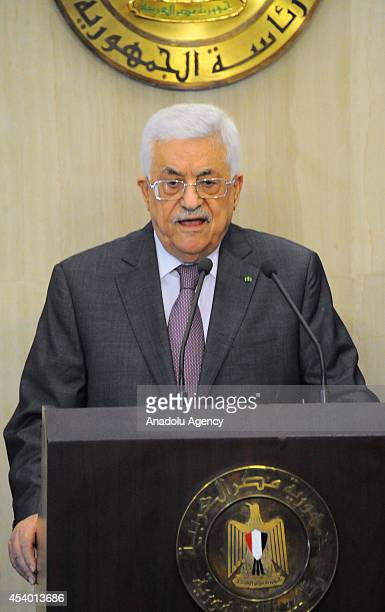 President of Palestine Mahmoud Abbas holds a press conference after his meeting with President of Egypt Abdel Fattah elSisi in Cairo Egypt on 23...
