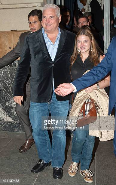 President of Panama Ricardo Martinelli is seen leaving the restaurant 'Ten Con Ten' on May 27 2014 in Madrid Spain