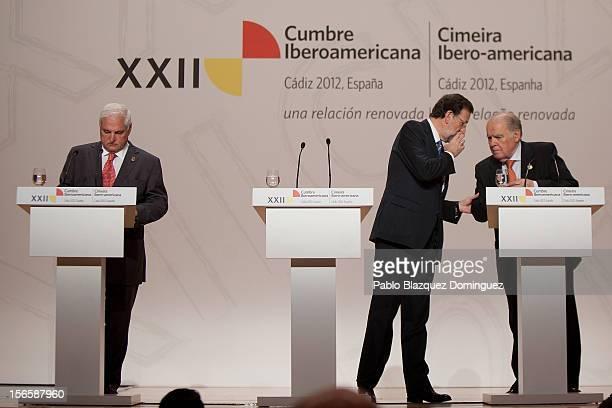 President of Panama Ricardo Martinelli President of Spain Mariano Rajoy and SecretaryGeneral of the IberoAmerican Secretariat Enrique Iglesias attend...