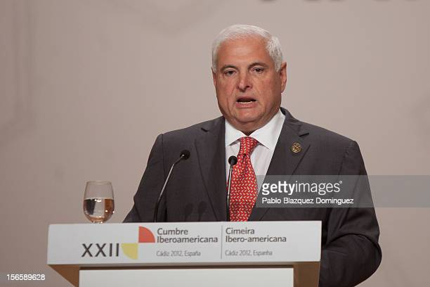 President of Panama Ricardo Martinelli speaks during a press conference at the end of the XXII IberoAmerican Summit at Congress Palace on November 17...
