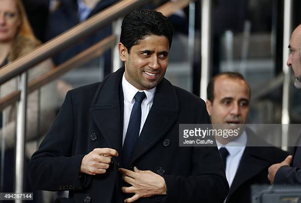 President of Paris Saint Germain Nasser Al Khelaifi attends the French Ligue 1 match between Paris SaintGermain and AS SaintEtienne at Parc des...