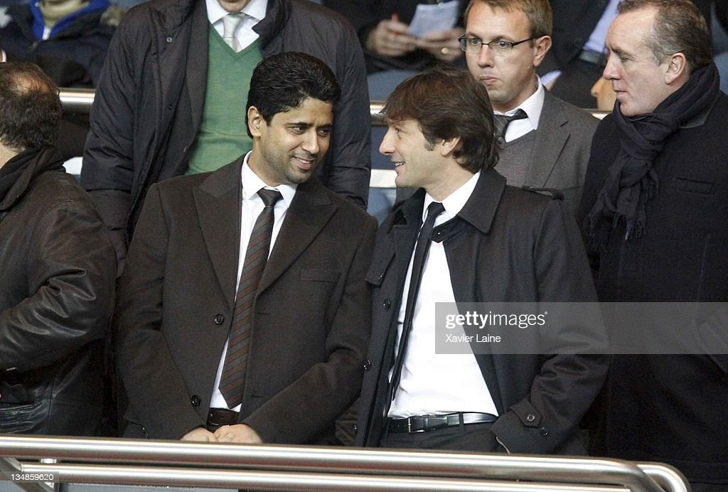 President of Paris Saint Germain Nasser El Khelaifi and Manager <a gi-track='captionPersonalityLinkClicked' href=/galleries/search?phrase=Leonardo+Araujo&family=editorial&specificpeople=6338887 ng-click='$event.stopPropagation()'>Leonardo Araujo</a> of Paris Saint Germain attends the French Ligue 1 match between Paris Saint Germain and Auxerre at Parc des Princes on December 4, 2011 in Paris, France.