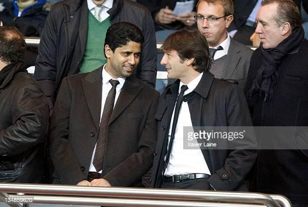 President of Paris Saint Germain Nasser El Khelaifi and Manager Leonardo Araujo of Paris Saint Germain attends the French Ligue 1 match between Paris...