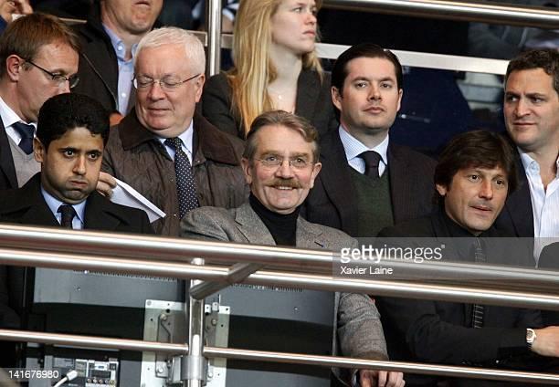 President of Paris Saint Germain Nasser El Khelaifi Frederic Thiriez and manager of Paris Saint germain Leonardo Araujo attend the French cup match...
