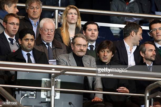 President of Paris Saint Germain Nasser El Khelaifi Frederic Thiriez manager of Paris Saint germain Leonardo Araujo and Jean Claude Blanc attend the...