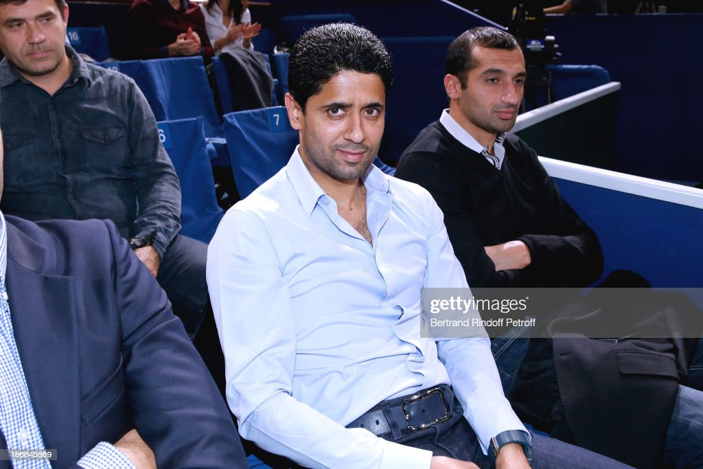 President of Paris Saint-Germain football club <a gi-track='captionPersonalityLinkClicked' href=/galleries/search?phrase=Nasser+Al-Khelaifi&family=editorial&specificpeople=7941556 ng-click='$event.stopPropagation()'>Nasser Al-Khelaifi</a> attends BNP Paribas Tennis Masters - Day Six, held at Bercy on November 2, 2013 in Paris, France.