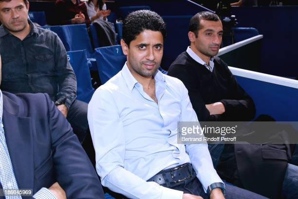 President of Paris SaintGermain football club Nasser AlKhelaifi attends BNP Paribas Tennis Masters Day Six held at Bercy on November 2 2013 in Paris...