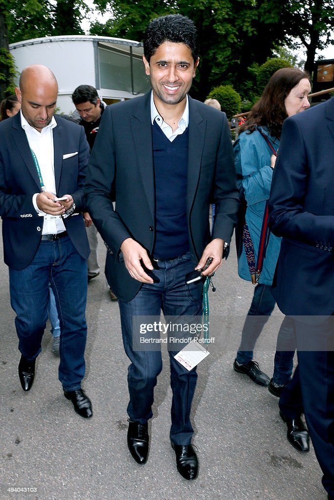 President of Paris Saint-Germain football club (PSG) <a gi-track='captionPersonalityLinkClicked' href=/galleries/search?phrase=Nasser+Al-Khelaifi&family=editorial&specificpeople=7941556 ng-click='$event.stopPropagation()'>Nasser Al-Khelaifi</a> attends the Roland Garros French Tennis Open 2014 - Day 3 on May 27, 2014 in Paris, France.