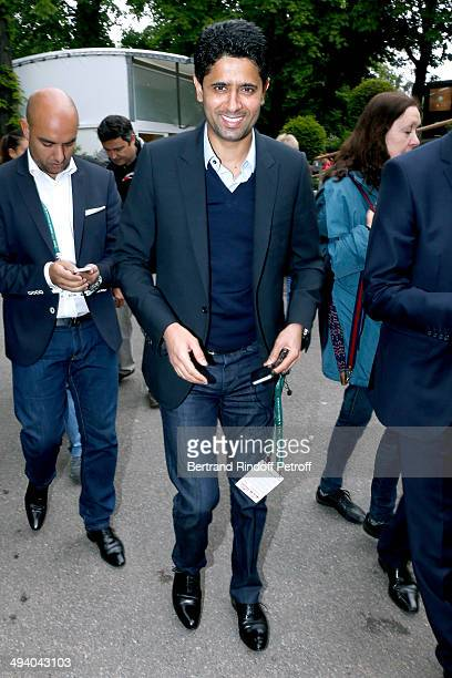 President of Paris SaintGermain football club Nasser AlKhelaifi attends the Roland Garros French Tennis Open 2014 Day 3 on May 27 2014 in Paris France
