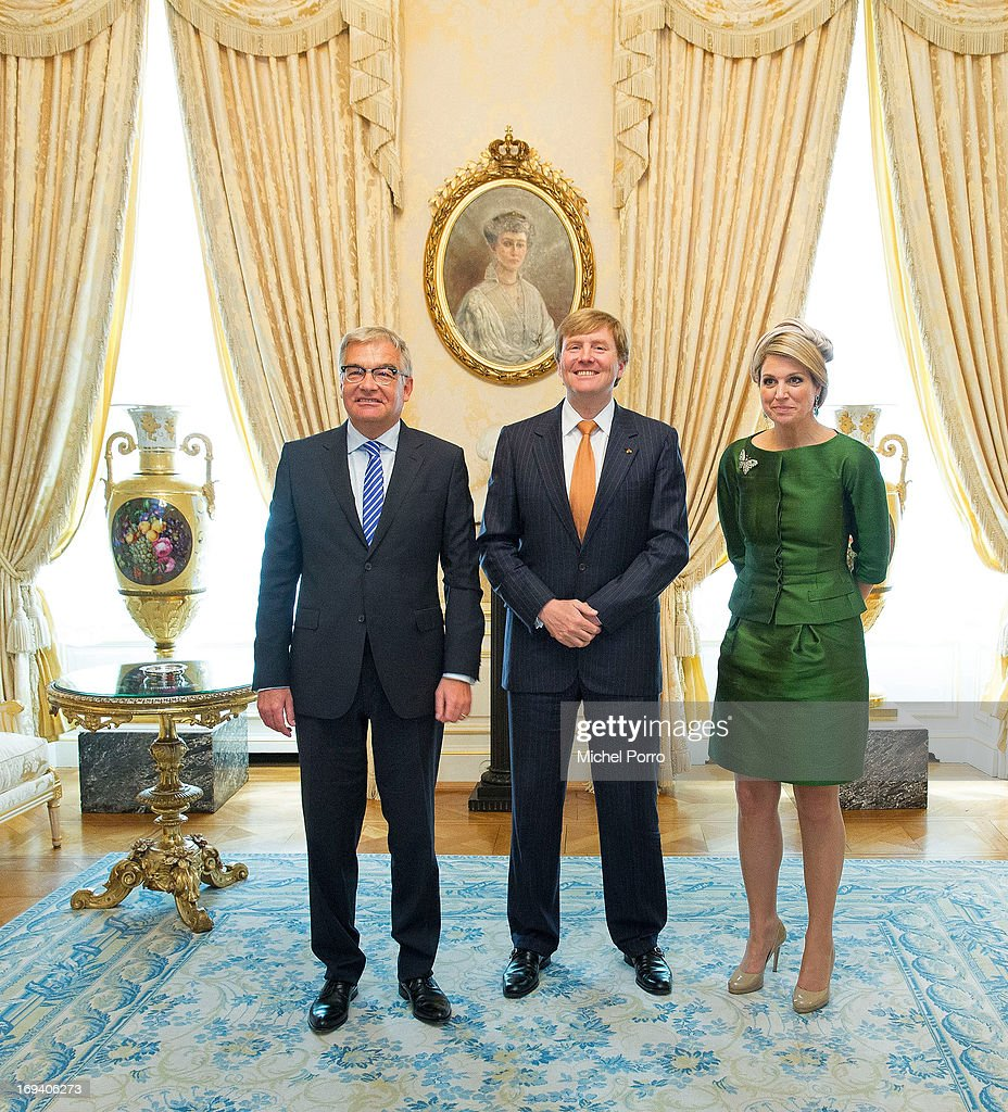 President of Parliament of Luxembourg Laurent Mosar, King Willem-Alexander of The Netherlands and Queen Maxima of The Netherlands meet at the Palace of The Grand Dukes during a one day visit of the King and Queen to Luxembourg on May 24, 2013 in Luxembourg.