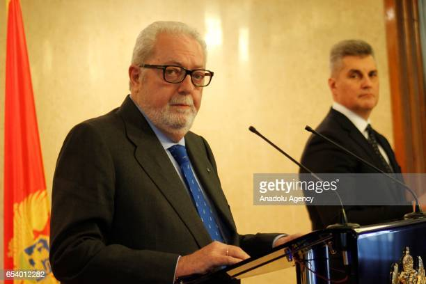 President of Parliamentary Assembly of the Council of Europe Pedro Agramunt delivers a speech during a joint press conference with the Speaker of the...