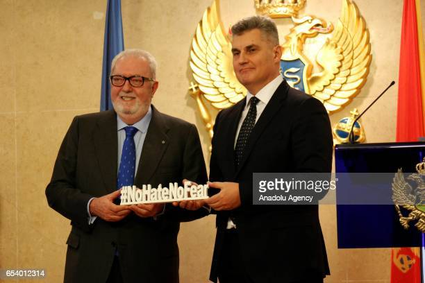 President of Parliamentary Assembly of the Council of Europe Pedro Agramunt and the Speaker of the Montenegrin Parliament Ivan Brajovic pose for a...